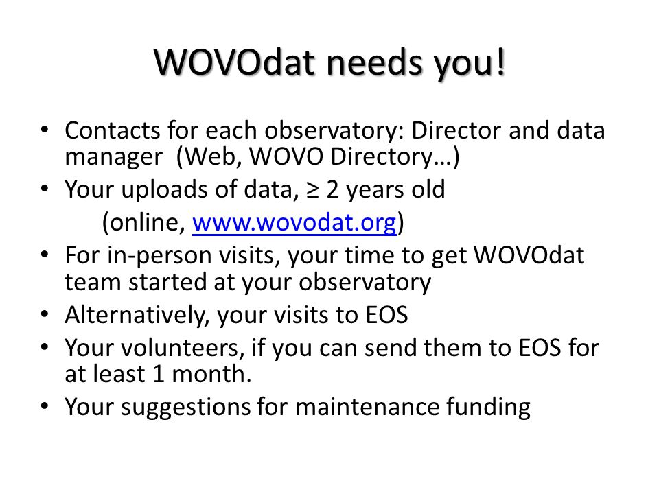 WOVOdat needs you.
