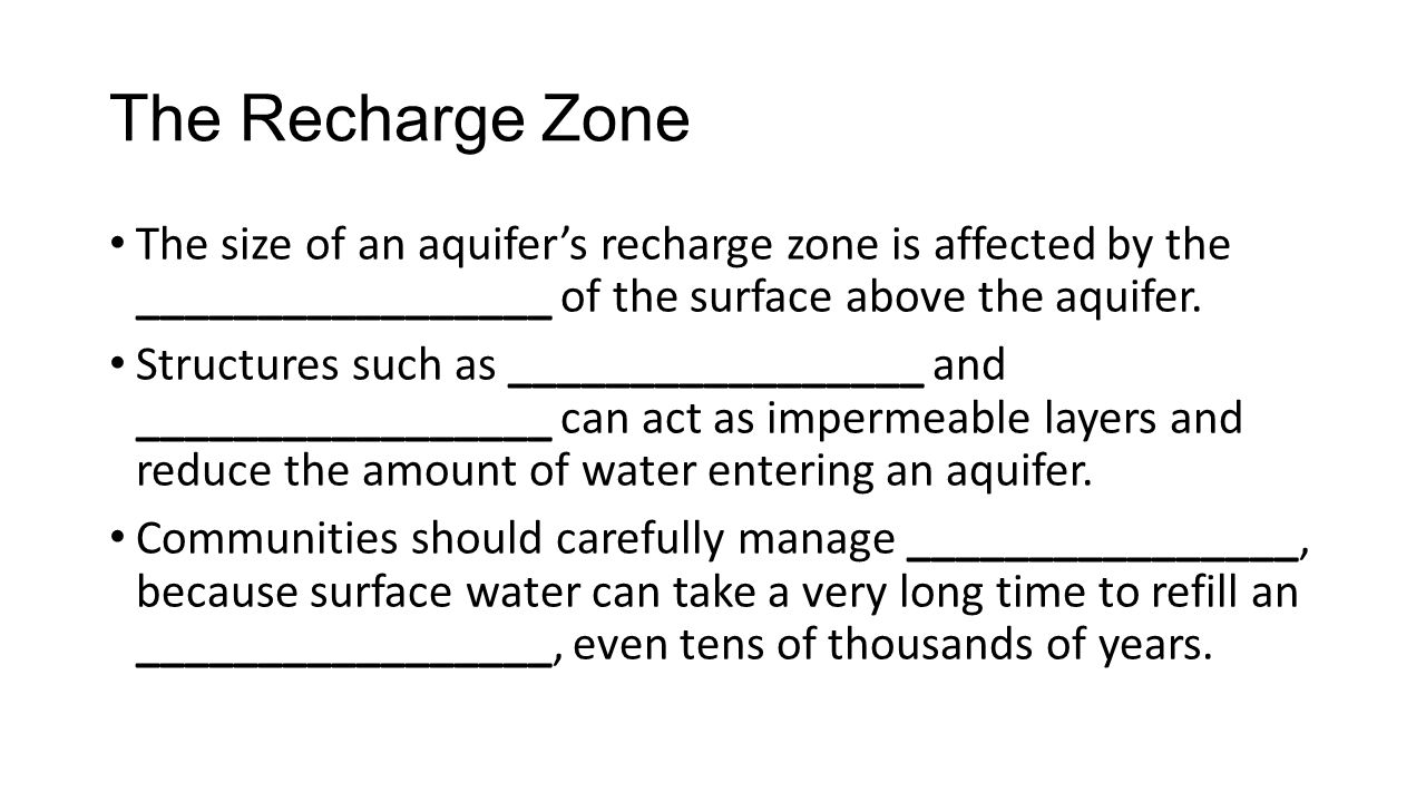 The size of an aquifer's recharge zone is affected by the _________________ of the surface above the aquifer. Structures such as _________________ and