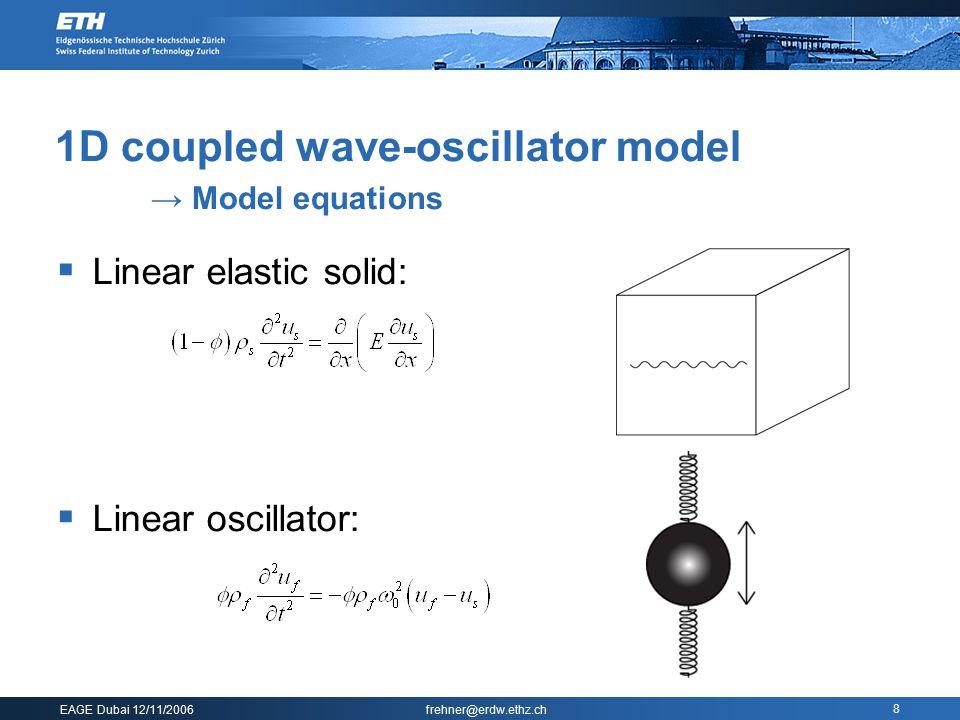 EAGE Dubai 12/11/2006 frehner@erdw.ethz.ch 8 1D coupled wave-oscillator model → Model equations  Linear elastic solid:  Linear oscillator: