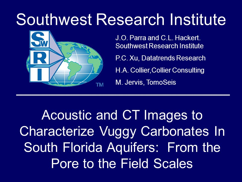 Based on standard core measurements and image analyses, we determined that the carbonate rock from the Ocala Limestone, South Florida, is formed by moldic, vuggy, intergranular, intraparticle and intercrystalline pores.