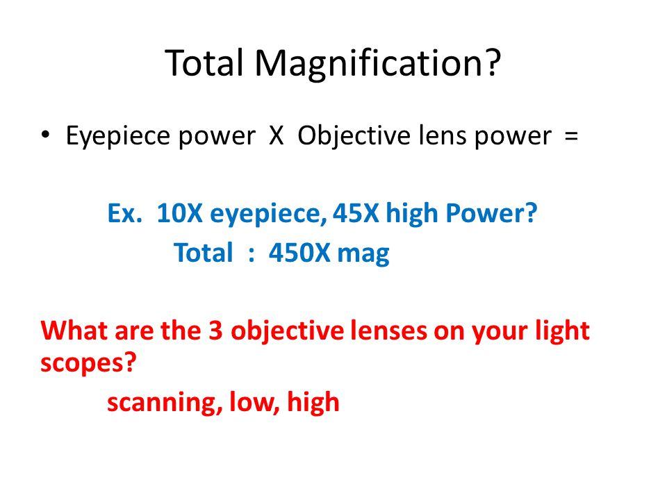 Total Magnification. Eyepiece power X Objective lens power = Ex.