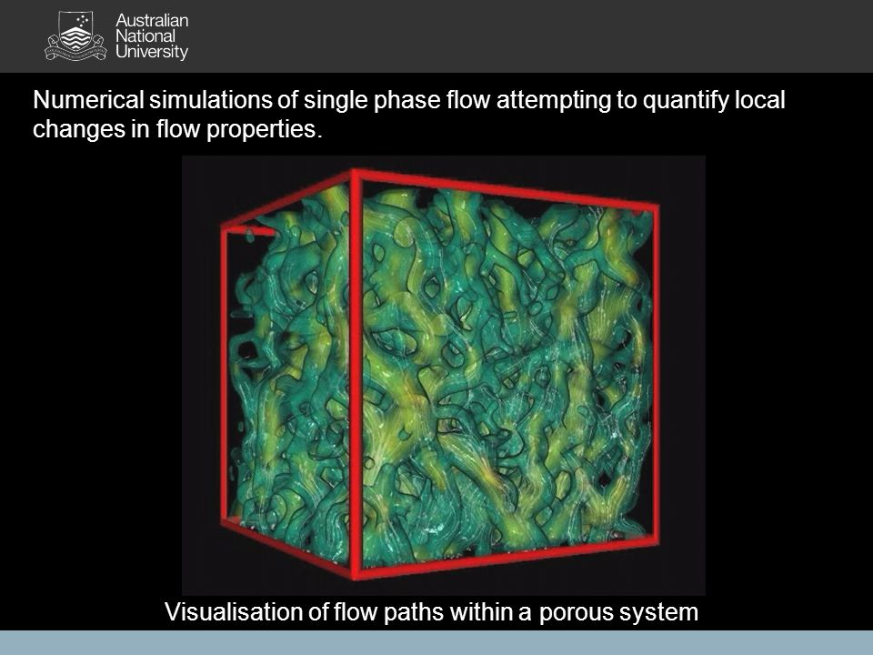 Numerical simulations of single phase flow attempting to quantify local changes in flow properties. Visualisation of flow paths within a porous system