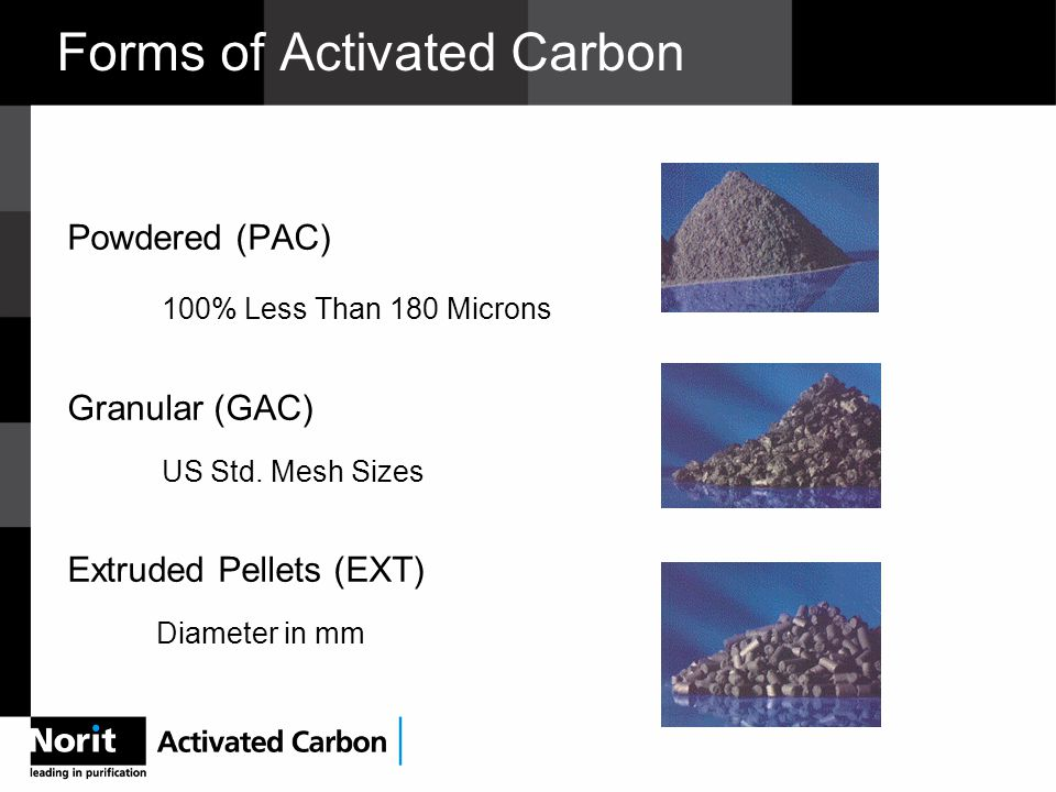 Forms of Activated Carbon Powdered (PAC) 100% Less Than 180 Microns Granular (GAC) US Std.