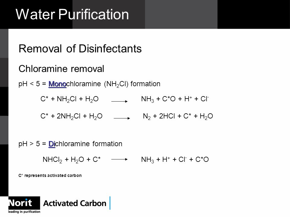 Water Purification Removal of Disinfectants Chloramine removal Mono pH < 5 = Monochloramine (NH 2 Cl) formation C* + NH 2 Cl + H 2 O NH 3 + C*O + H +