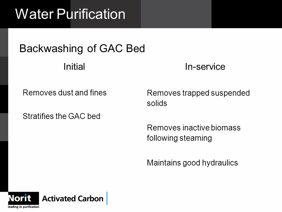 Water Purification Initial Removes dust and fines Stratifies the GAC bed In-service Removes trapped suspended solids Removes inactive biomass following steaming Maintains good hydraulics Backwashing of GAC Bed