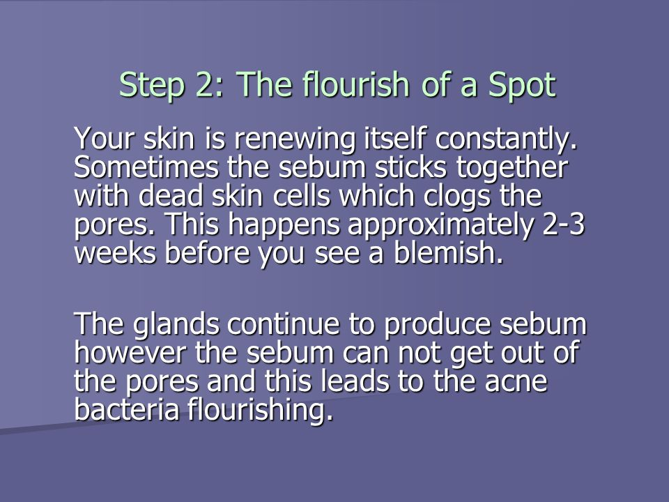 Step 3: How acne happens The clogged pore is the perfect environment for the acne bacteria.