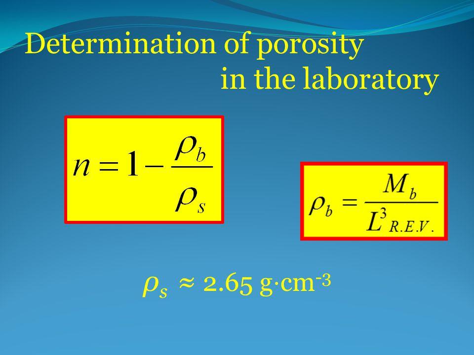 Determination of porosity in the laboratory ρ s ≈ 2.65 g ⋅ cm -3