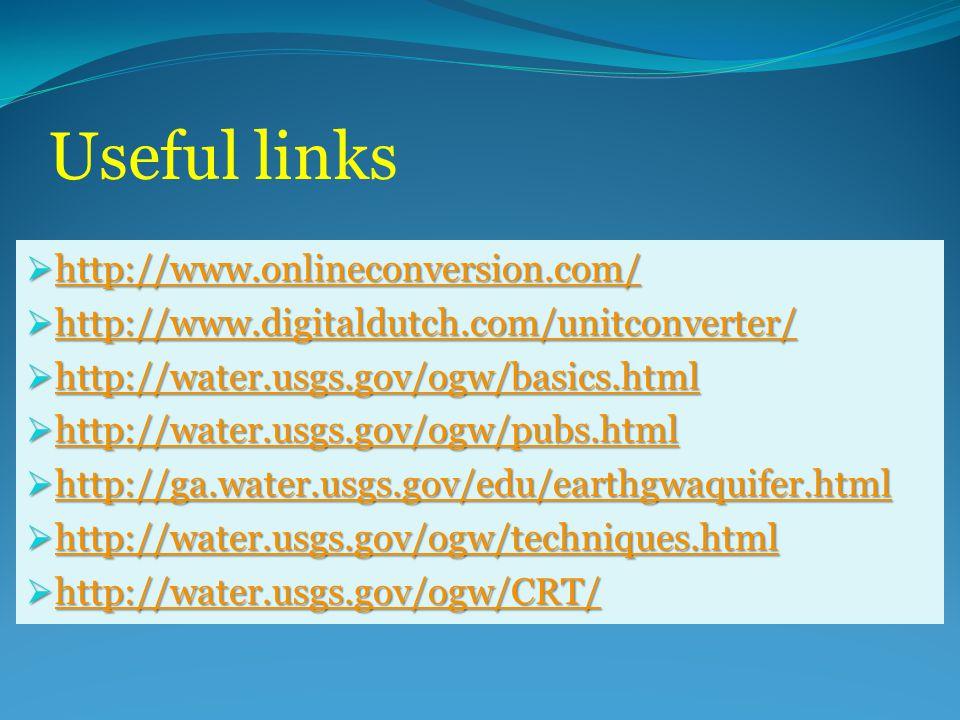 Useful links  http://www.onlineconversion.com/ http://www.onlineconversion.com/  http://www.digitaldutch.com/unitconverter/ http://www.digitaldutch.