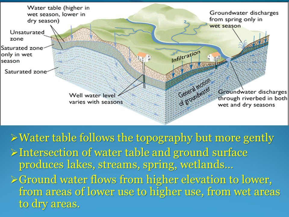  Water table follows the topography but more gently  Intersection of water table and ground surface produces lakes, streams, spring, wetlands…  Ground water flows from higher elevation to lower, from areas of lower use to higher use, from wet areas to dry areas.
