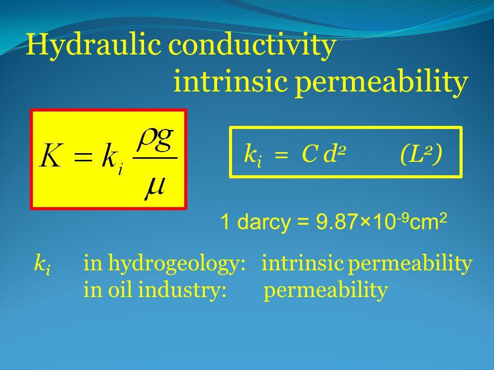 Hydraulic conductivity intrinsic permeability k i = C d 2 (L 2 ) k i in hydrogeology: intrinsic permeability in oil industry: permeability 1 darcy = 9
