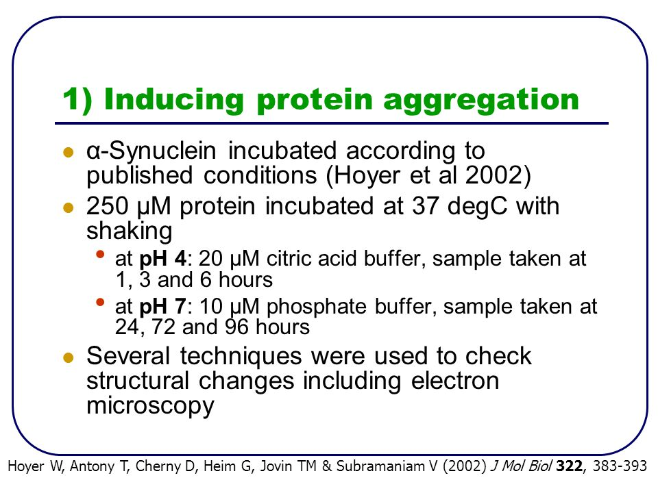 1) Inducing protein aggregation α-Synuclein incubated according to published conditions (Hoyer et al 2002) 250 μM protein incubated at 37 degC with shaking at pH 4: 20 μM citric acid buffer, sample taken at 1, 3 and 6 hours at pH 7: 10 μM phosphate buffer, sample taken at 24, 72 and 96 hours Several techniques were used to check structural changes including electron microscopy Hoyer W, Antony T, Cherny D, Heim G, Jovin TM & Subramaniam V (2002) J Mol Biol 322, 383-393