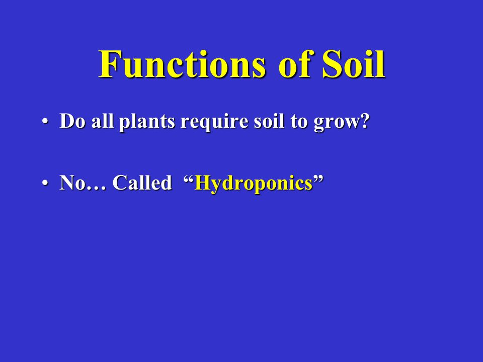 Functions of Soil Do all plants require soil to grow?Do all plants require soil to grow.
