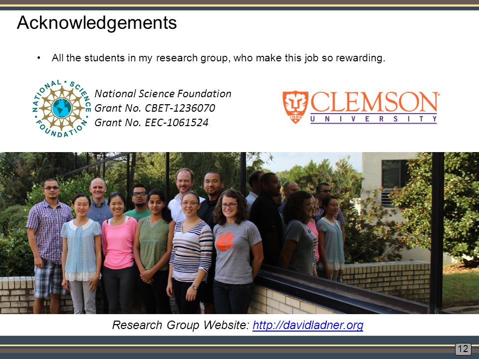 Acknowledgements 12 National Science Foundation Grant No.