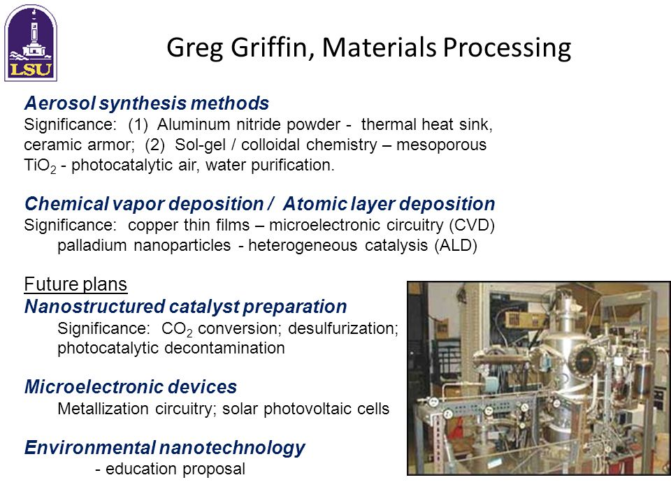 Greg Griffin, Materials Processing Aerosol synthesis methods Significance: (1) Aluminum nitride powder - thermal heat sink, ceramic armor; (2) Sol-gel / colloidal chemistry – mesoporous TiO 2 - photocatalytic air, water purification.