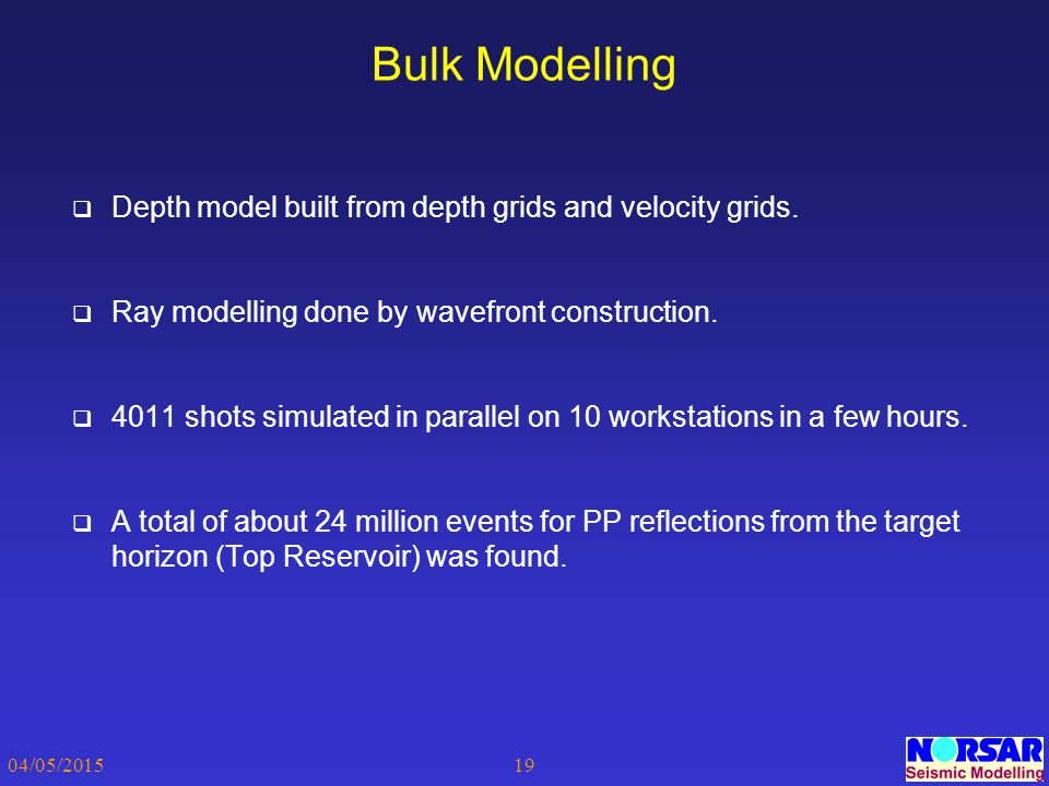 04/05/201519 Bulk Modelling  Depth model built from depth grids and velocity grids.  Ray modelling done by wavefront construction.  4011 shots simu