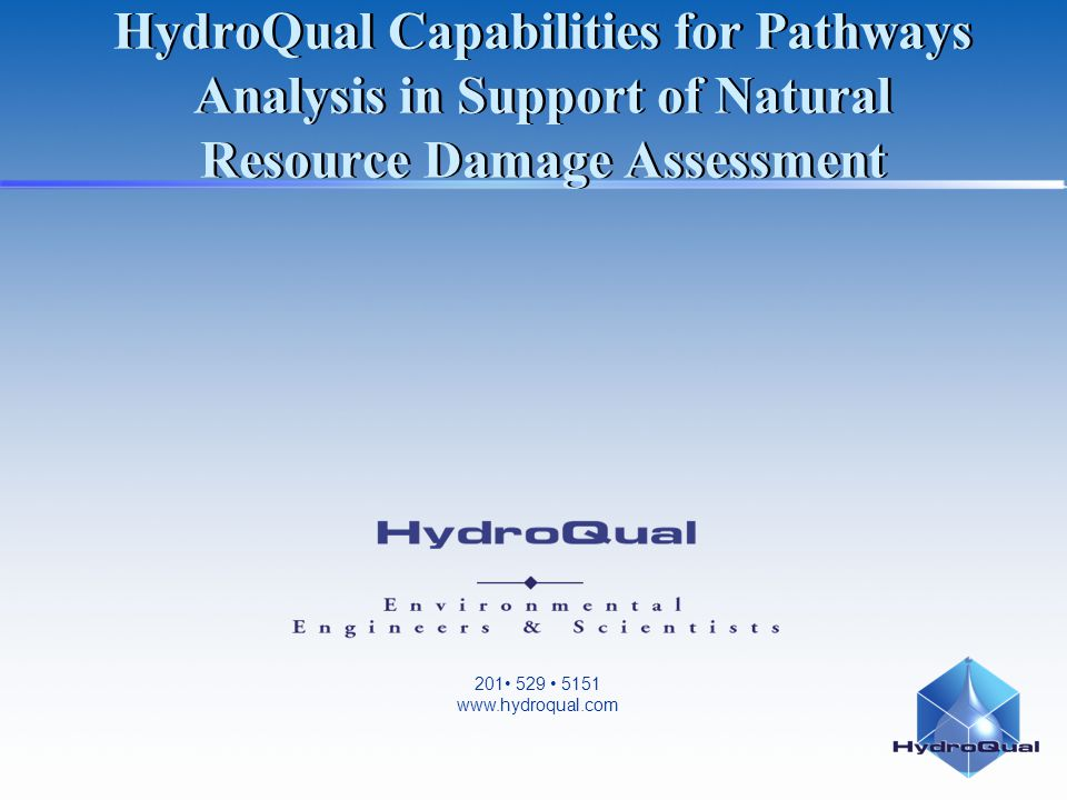 201 529 5151 www.hydroqual.com HydroQual Capabilities for Pathways Analysis in Support of Natural Resource Damage Assessment