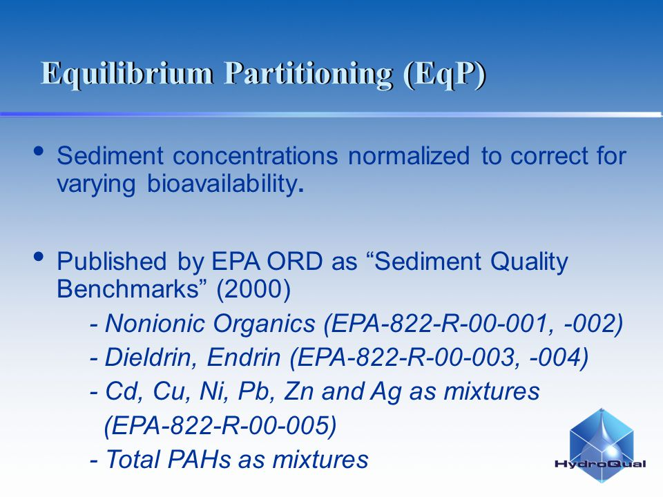 "Sediment concentrations normalized to correct for varying bioavailability. Published by EPA ORD as ""Sediment Quality Benchmarks"" (2000) - Nonionic Org"