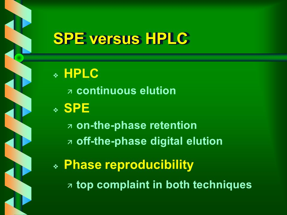 SPE versus HPLC v HPLC ä continuous elution v SPE ä on-the-phase retention ä off-the-phase digital elution v Phase reproducibility ä top complaint in both techniques