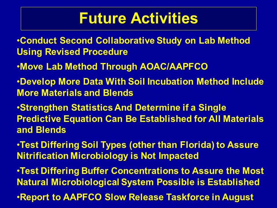 Future Activities Conduct Second Collaborative Study on Lab Method Using Revised Procedure Move Lab Method Through AOAC/AAPFCO Develop More Data With Soil Incubation Method Include More Materials and Blends Strengthen Statistics And Determine if a Single Predictive Equation Can Be Established for All Materials and Blends Test Differing Soil Types (other than Florida) to Assure Nitrification Microbiology is Not Impacted Test Differing Buffer Concentrations to Assure the Most Natural Microbiological System Possible is Established Report to AAPFCO Slow Release Taskforce in August