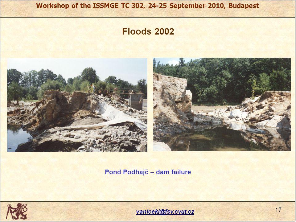 Workshop of the ISSMGE TC 302, 24-25 September 2010, Budapest Floods 2002 vaniceki@fsv.cvut.cz 17 Pond Podhajč – dam failure
