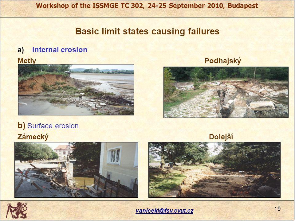 Workshop of the ISSMGE TC 302, 24-25 September 2010, Budapest Basic limit states causing failures a)Internal erosion Metly Podhajský b) Surface erosion Zámecký Dolejší vaniceki@fsv.cvut.cz 19