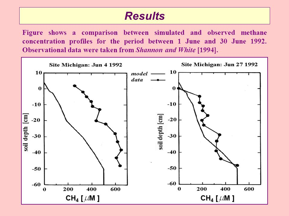 Results Figure shows a comparison between simulated and observed methane concentration profiles for the period between 1 June and 30 June 1992.