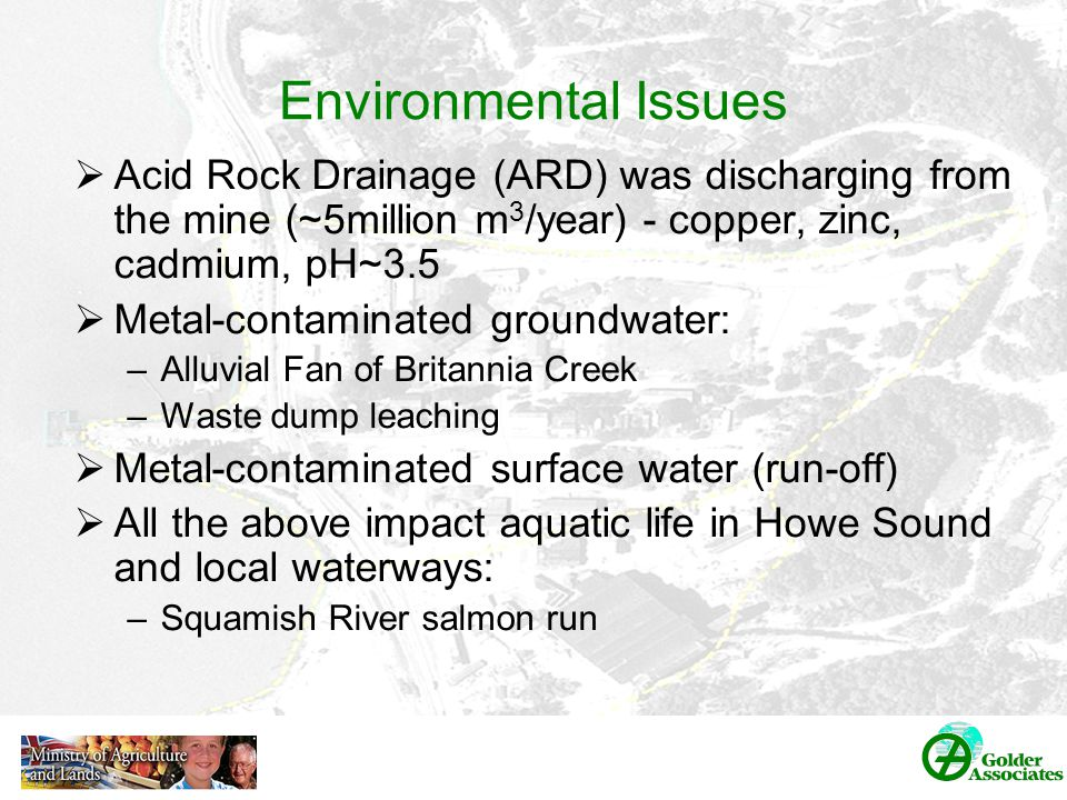 Environmental Issues  Acid Rock Drainage (ARD) was discharging from the mine (~5million m 3 /year) - copper, zinc, cadmium, pH~3.5  Metal-contaminated groundwater: –Alluvial Fan of Britannia Creek –Waste dump leaching  Metal-contaminated surface water (run-off)  All the above impact aquatic life in Howe Sound and local waterways: –Squamish River salmon run