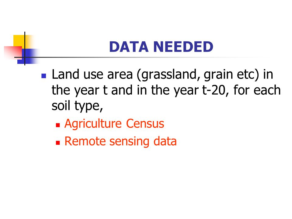 DATA NEEDED Land use area (grassland, grain etc) in the year t and in the year t-20, for each soil type, Agriculture Census Remote sensing data