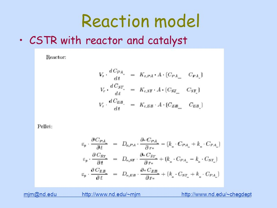 mjm@nd.edu http://www.nd.edu/~mjm http://www.nd.edu/~chegdepthttp://www.nd.edu/~mjmhttp://www.nd.edu/~chegdept Reaction model CSTR with reactor and catalyst