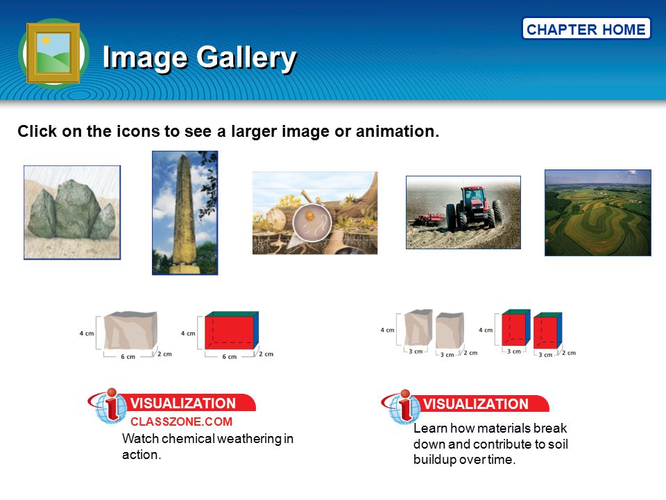 CHAPTER HOME Image Gallery Click on the icons to see a larger image or animation. CLASSZONE.COM VISUALIZATION Watch chemical weathering in action. VIS