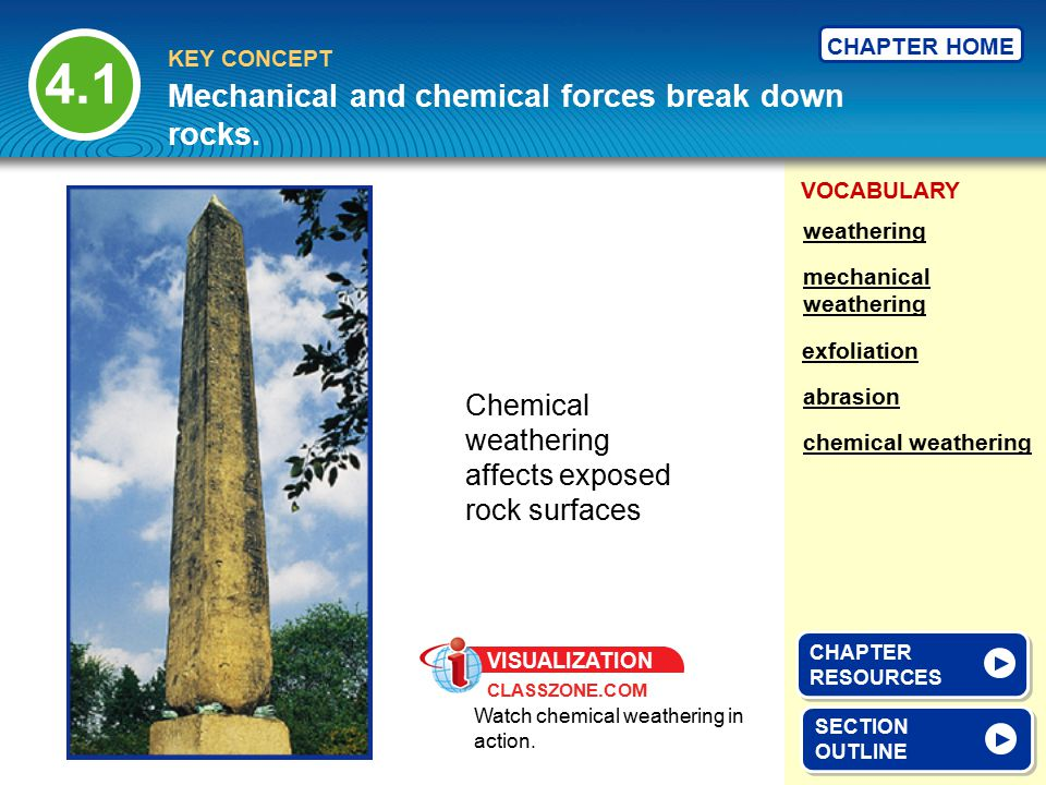 VOCABULARY KEY CONCEPT CHAPTER HOME 4.1 SECTION OUTLINE SECTION OUTLINE Mechanical and chemical forces break down rocks. mechanical weathering exfolia