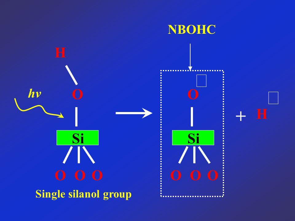 NBOHC Si OOO OH hν Si OOO O ‧ + H ‧ Single silanol group