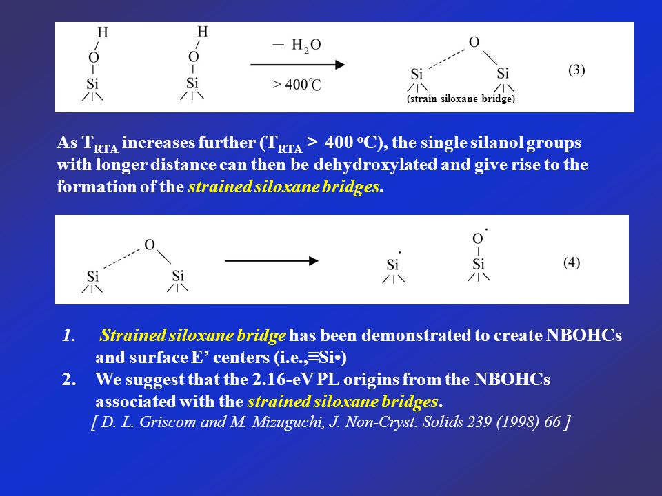 As T RTA increases further (T RTA > 400 o C), the single silanol groups with longer distance can then be dehydroxylated and give rise to the formation of the strained siloxane bridges.