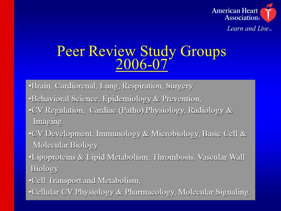 Peer Review Study Groups 2006-07 Brain, Cardiorenal, Lung, Respiration, SurgeryBrain, Cardiorenal, Lung, Respiration, Surgery Behavioral Science, Epid