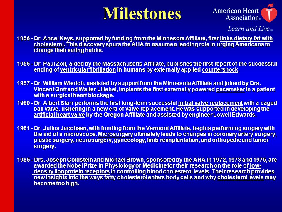 Milestones 1956 - Dr. Ancel Keys, supported by funding from the Minnesota Affiliate, first links dietary fat with cholesterol. This discovery spurs th