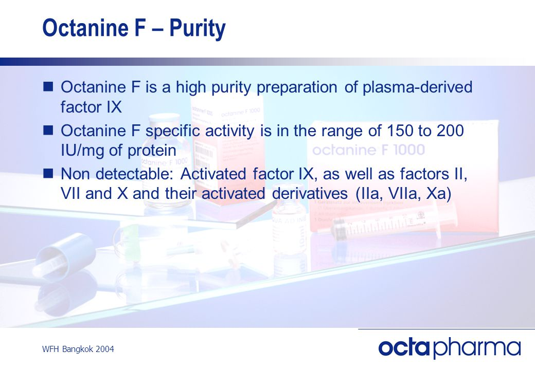 WFH Bangkok 2004 Octanine F – Purity Octanine F is a high purity preparation of plasma-derived factor IX Octanine F specific activity is in the range of 150 to 200 IU/mg of protein Non detectable: Activated factor IX, as well as factors II, VII and X and their activated derivatives (IIa, VIIa, Xa)