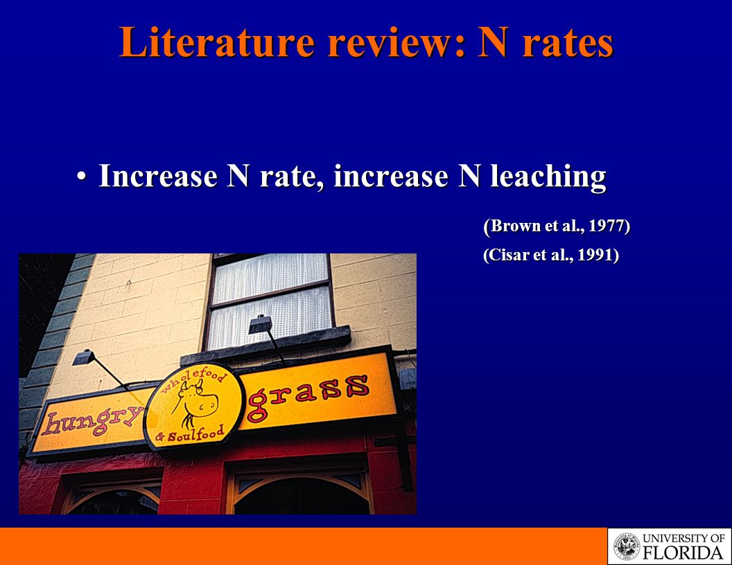 Literature review: N rates Increase N rate, increase N leaching ( Brown et al., 1977)Increase N rate, increase N leaching ( Brown et al., 1977) (Cisar et al., 1991)