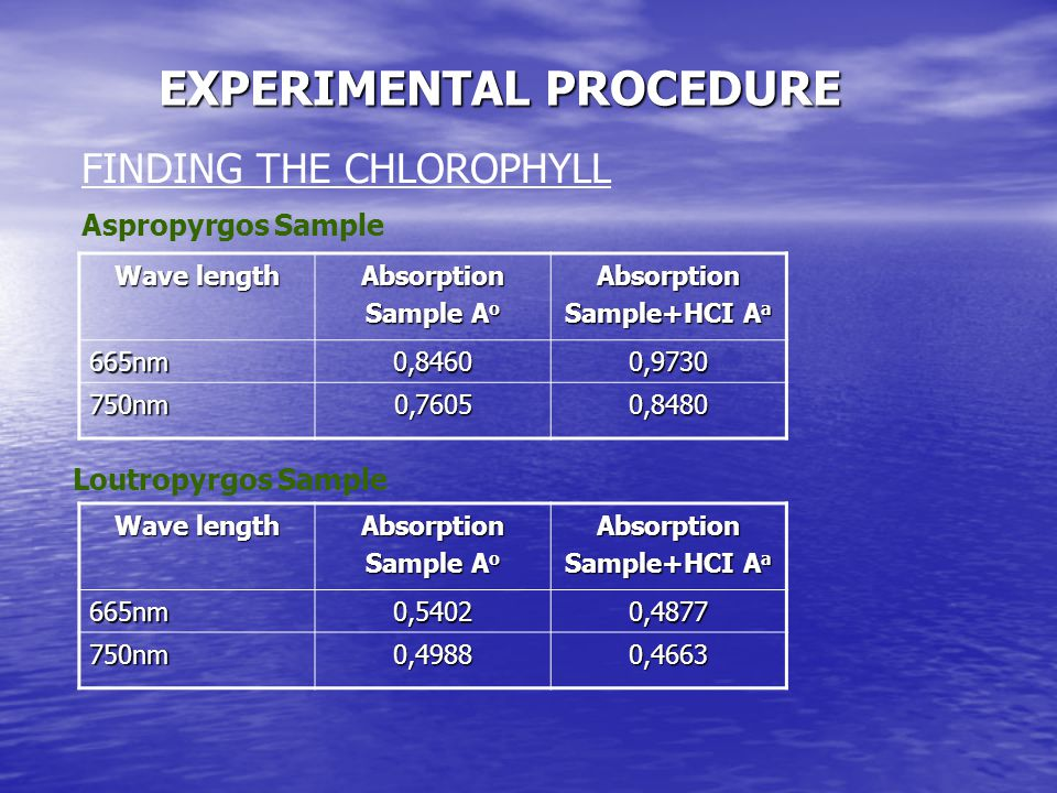 FINDING THE CHLOROPHYLL EXPERIMENTAL PROCEDURE Wave length Absorption Sample A o Absorption Sample+HCI A a 665nm0,84600,9730 750nm0,76050,8480 Aspropy