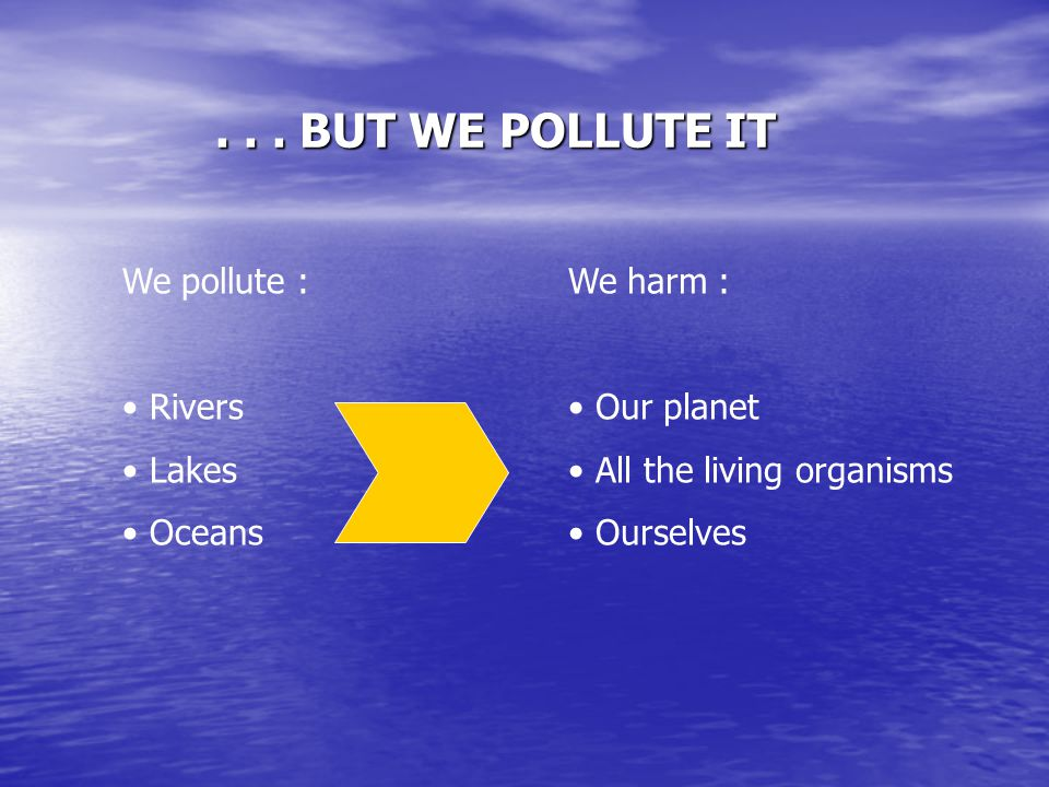 ... BUT WE POLLUTE IT We pollute : Rivers Lakes Oceans We harm : Our planet All the living organisms Ourselves