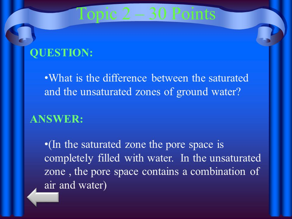 Topic 2 – 30 Points QUESTION: What is the difference between the saturated and the unsaturated zones of ground water.