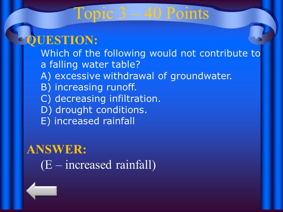 Topic 3 – 40 Points QUESTION: Which of the following would not contribute to a falling water table.