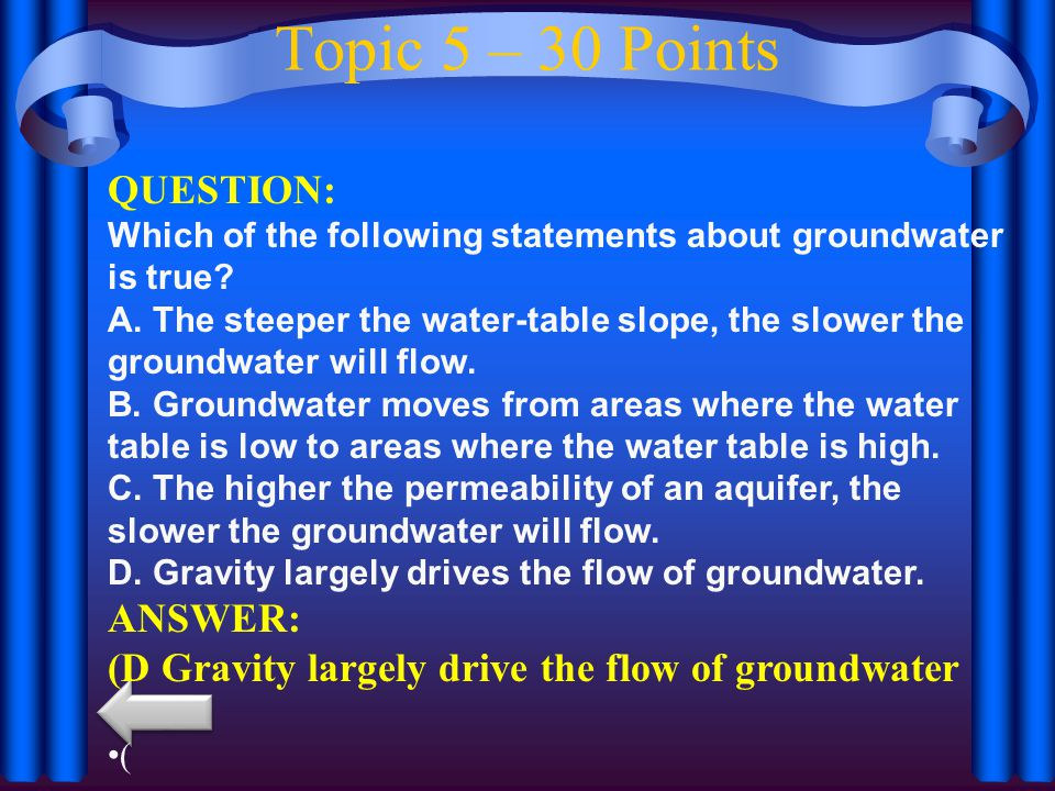 Topic 5 – 30 Points QUESTION: Which of the following statements about groundwater is true.