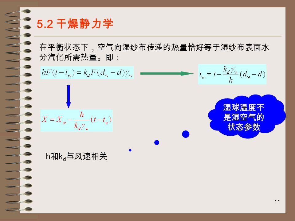 11 5.2 干燥静力学 在平衡状态下,空气向湿纱布传递的热量恰好等于湿纱布表面水 分汽化所需热量。即: 湿球温度不 是湿空气的 状态参数 h 和 k d 与风速相关