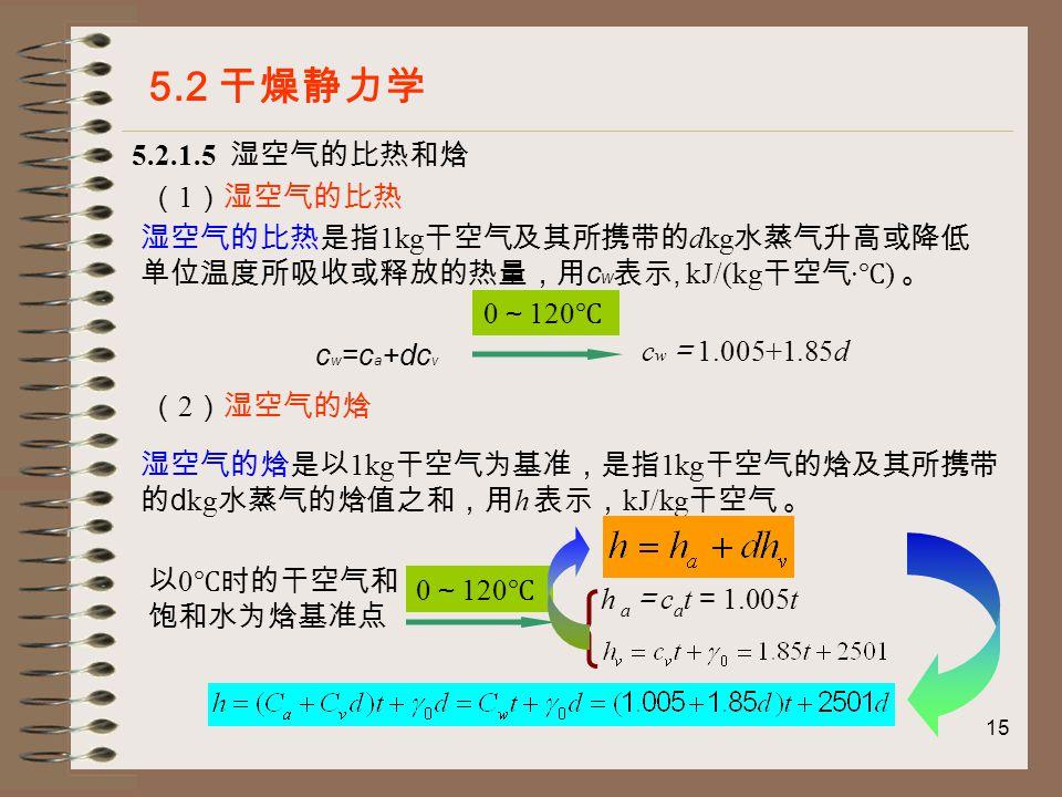 15 5.2.1.5 湿空气的比热和焓 5.2 干燥静力学 ( 1 )湿空气的比热 湿空气的比热是指 1kg 干空气及其所携带的 dkg 水蒸气升高或降低 单位温度所吸收或释放的热量,用 c w 表示, kJ/(kg 干空气 · ℃ ) 。 c w =c a +dc v 0 ~ 120 ℃ c w = 1.005+1.85d ( 2 )湿空气的焓 湿空气的焓是以 1kg 干空气为基准,是指 1kg 干空气的焓及其所携带 的 d kg 水蒸气的焓值之和,用 h 表示, kJ/kg 干空气 。 以 0 ℃时的干空气和 饱和水为焓基准点 0 ~ 120 ℃ h a = c a t = 1.005t