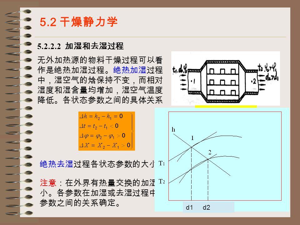21 5.2.2.2 加湿和去湿过程 5.2 干燥静力学 热空气的加湿过程 无外加热源的物料干燥过程可以看 作是绝热加湿过程。绝热加湿过程 中,湿空气的焓保持不变,而相对 湿度和湿含量均增加,湿空气温度 降低。各状态参数之间的具体关系 绝热去湿过程各状态参数的大小关系与上式相反。 注意:在外界有热量交换的加湿或去湿过程中,焓值将增加或减 小。各参数在加湿或去湿过程中的计算可以根据过程特点及状态 参数之间的关系确定。 d1 d2
