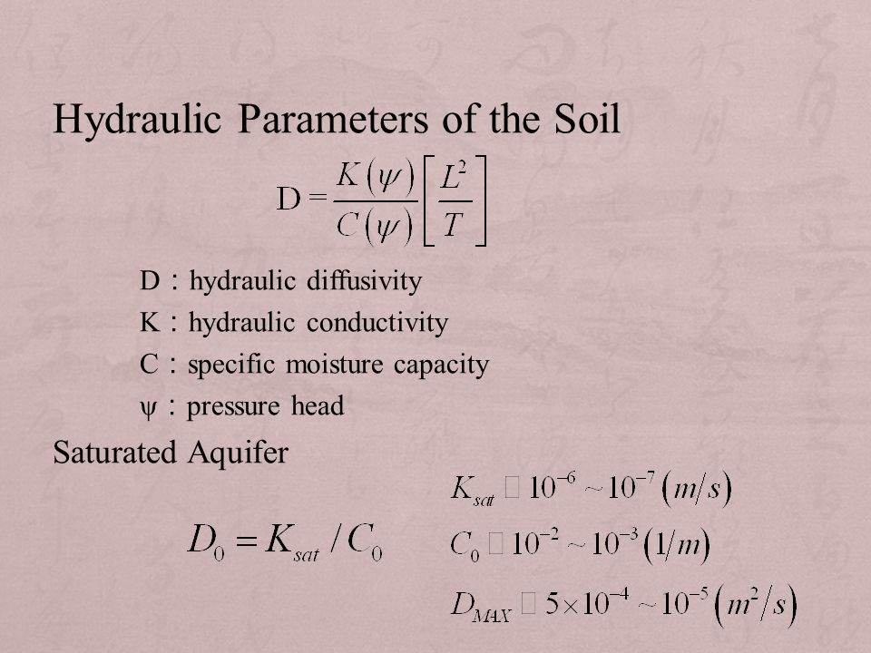 Hydraulic Parameters of the Soil D : hydraulic diffusivity K : hydraulic conductivity C : specific moisture capacity ψ : pressure head Saturated Aquifer