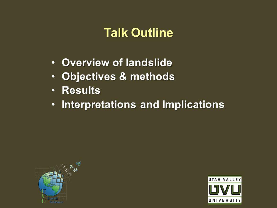 Overview of landslideOverview of landslide Objectives & methodsObjectives & methods ResultsResults Interpretations and ImplicationsInterpretations and Implications Talk Outline