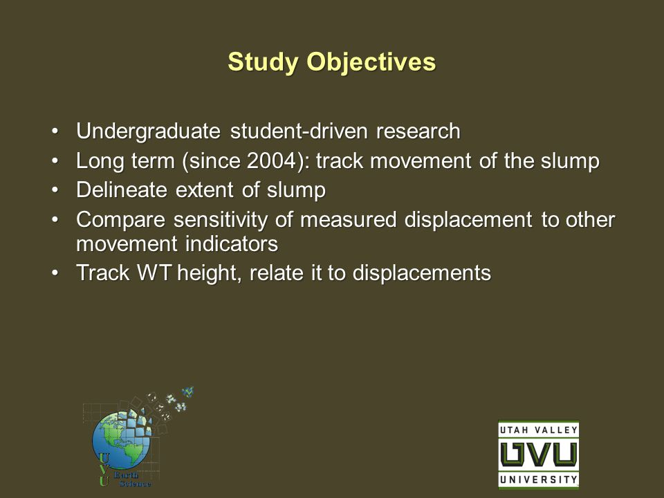 Undergraduate student-driven researchUndergraduate student-driven research Long term (since 2004): track movement of the slumpLong term (since 2004): track movement of the slump Delineate extent of slumpDelineate extent of slump Compare sensitivity of measured displacement to other movement indicatorsCompare sensitivity of measured displacement to other movement indicators Track WT height, relate it to displacementsTrack WT height, relate it to displacements Study Objectives