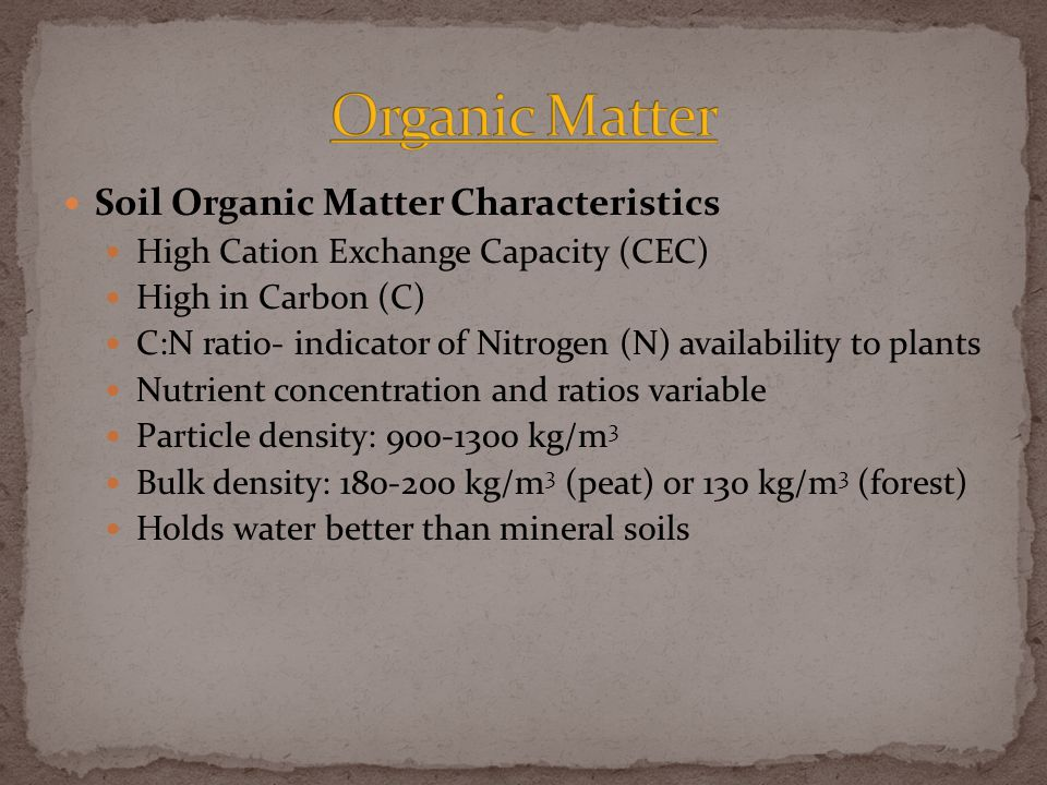 Soil Organic Matter Characteristics High Cation Exchange Capacity (CEC) High in Carbon (C) C:N ratio- indicator of Nitrogen (N) availability to plants Nutrient concentration and ratios variable Particle density: 900-1300 kg/m 3 Bulk density: 180-200 kg/m 3 (peat) or 130 kg/m 3 (forest) Holds water better than mineral soils