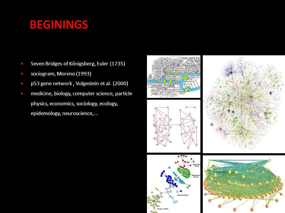  Seven Bridges of Königsberg, Euler (1735)  sociogram, Moreno (1993)  p53 gene network, Volgestein et al.